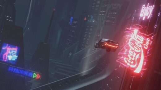 Получите-киберпанк-с-этим-модом-полной-конверсии-Blade-Runner-для-Serious-Sam.-Летающая-машина-проезжает-мимо-рекламного-щита-Coke.