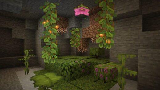 В-новом-снимке-Minecraft-есть-пещерные-лозы-светящиеся-ягоды-и-капающие-листья.-Светящиеся-ягоды-Minecraft